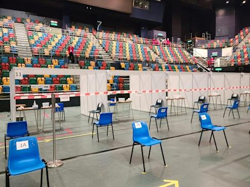 Queen Elizabeth Stadium in Wan Chai prepares for the launch of citywide Covid-19 testing. Photo: Handout