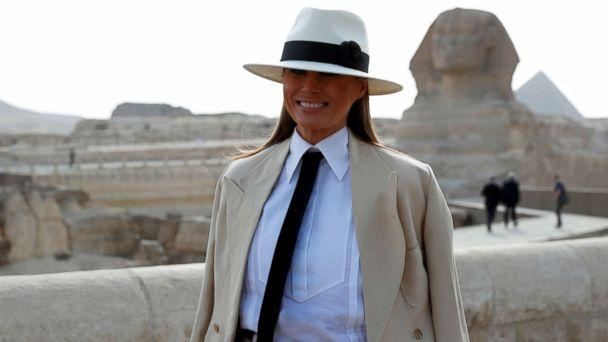 PHOTO: First lady Melania Trump stands in front of the Sphinx as she visits the Pyramids in Cairo, Egypt, Oct. 6, 2018. (Carlo Allegri/Reuters)