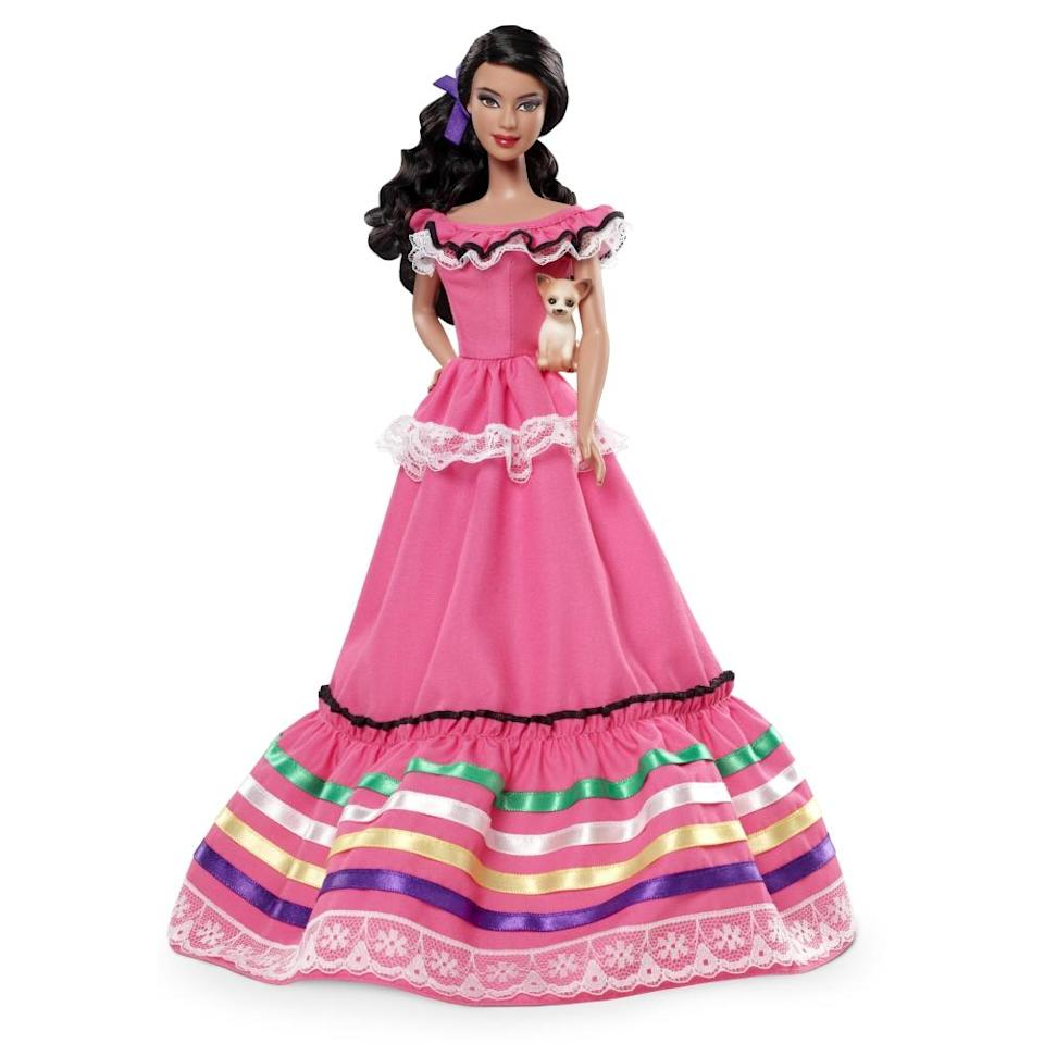 """<div class=""""caption-credit"""">Photo by: Mattel.com</div><b><div class=""""caption-title"""">Mexico Barbie, 2012</div></b>The 2012 Mexico Barbie wears what Barbie Collection Designer <a href=""""http://youtu.be/3w6In13RJCs"""" rel=""""nofollow noopener"""" target=""""_blank"""" data-ylk=""""slk:Linda Kyaw calls"""" class=""""link rapid-noclick-resp"""">Linda Kyaw calls</a> an """"incredible Barbie pink gown,"""" a single purple ribbon in her wavy brown hair, and accessorizes with a Chihuahua. But if Mattel was looking for authenticity, """"She should have braids woven through with ribbons,"""" Adriana Velez, who describes herself as Mexican-American, <a href=""""http://thestir.cafemom.com/big_kid/153926/mexico_barbie_should_be_offensive"""" rel=""""nofollow noopener"""" target=""""_blank"""" data-ylk=""""slk:writes at Cafe Mom"""" class=""""link rapid-noclick-resp"""">writes at Cafe Mom</a>. """"She could have a white blouse with colorful embroidery and a woven shawl. Hell, they could have just called up a photo of the most iconic Mexican ever, Frida Kahlo, and copied the look. Instead they gave her some vague pink thing with ruffles."""""""