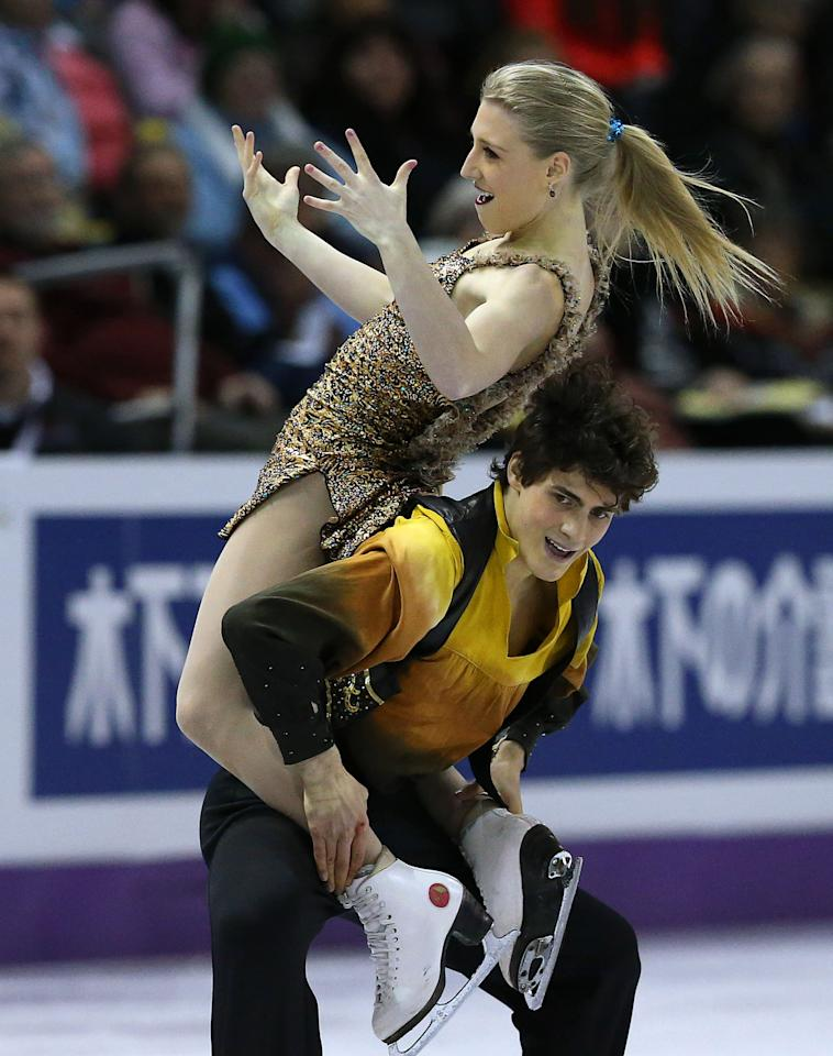 LONDON, CANADA - MARCH 16:  Piper Gilles (L) and Paul Poirier of Canada skate in the Ice Dance Free Dance Program during the 2013 ISU World Figure Skating Championships at Budweiser Gardens on March 16, 2013 in London, Ontario, Canada.  (Photo by Dave Sandford/Getty Images)