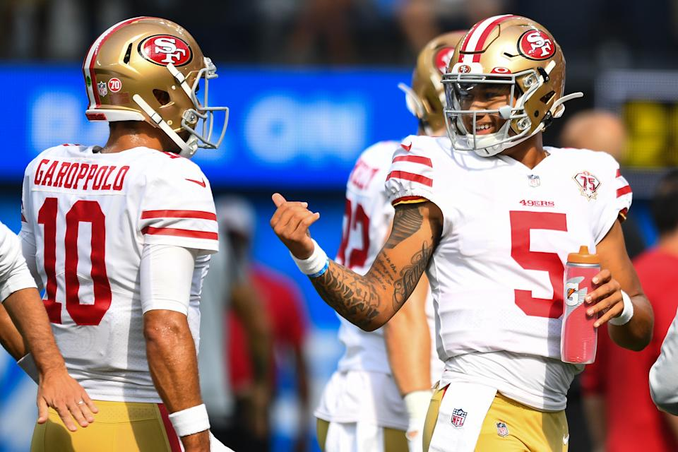 The 49ers used both Jimmy Garoppolo (10) and Trey Lance (5) on the first series of their preseason finale. (Photo by Brian Rothmuller/Icon Sportswire via Getty Images)