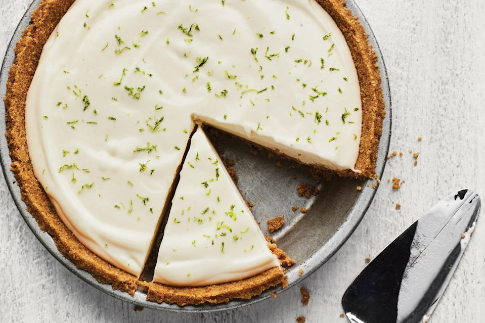 "Tart, creamy, and boozy—this is your <a href=""https://www.epicurious.com/recipes/food/views/the-classic-margarita-238570?mbid=synd_yahoo_rss"" rel=""nofollow noopener"" target=""_blank"" data-ylk=""slk:favorite summer cocktail"" class=""link rapid-noclick-resp"">favorite summer cocktail</a> in pie form. It only uses a few ingredients, but it needs time to freeze—so make it now, and relax on Labor Day. <a href=""https://www.epicurious.com/recipes/food/views/frozen-margarita-tequila-lime-pie?mbid=synd_yahoo_rss"" rel=""nofollow noopener"" target=""_blank"" data-ylk=""slk:See recipe."" class=""link rapid-noclick-resp"">See recipe.</a>"