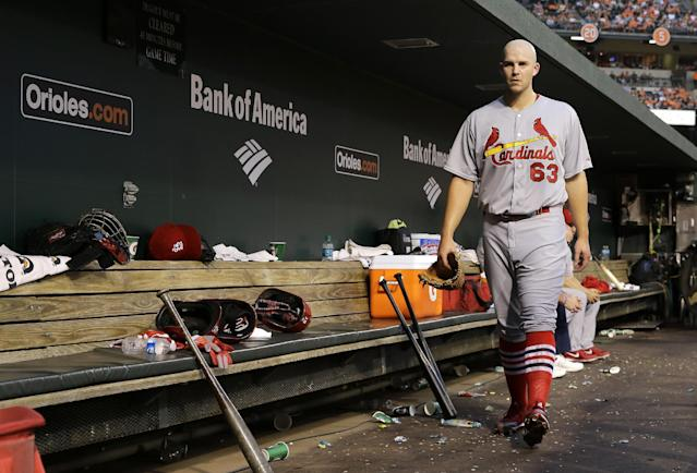 St. Louis Cardinals starting pitcher Justin Masterson walks out of the dugout after being relieved in the third inning of an interleague baseball game against the Baltimore Orioles, Friday, Aug. 8, 2014, in Baltimore. (AP Photo/Patrick Semansky)