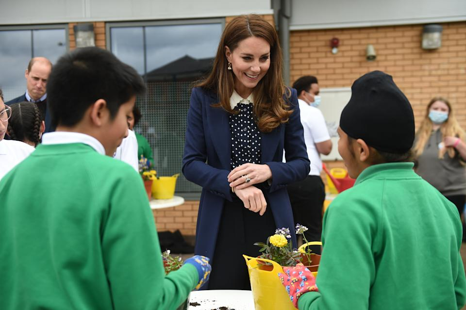 WOLVERHAMPTON, ENGLAND - MAY 13: Catherine, Duchess of Cambridge during a visit to The Way Youth Zone on May 13, 2021 in Wolverhampton, England. (Photo by Jacob King - WPA Pool/Getty Images)