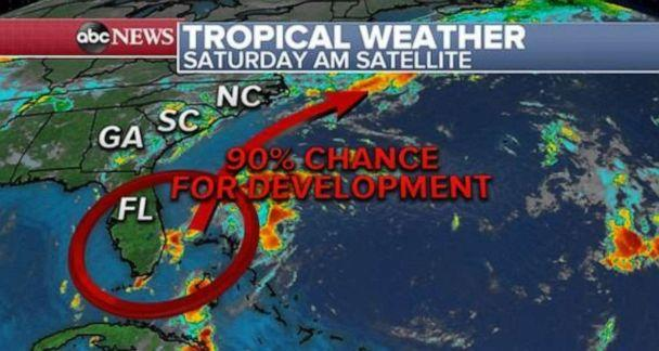 PHOTO: There is a 90% chance for development of a tropical system off the Florida coast. But impacts should be light. (ABC News)