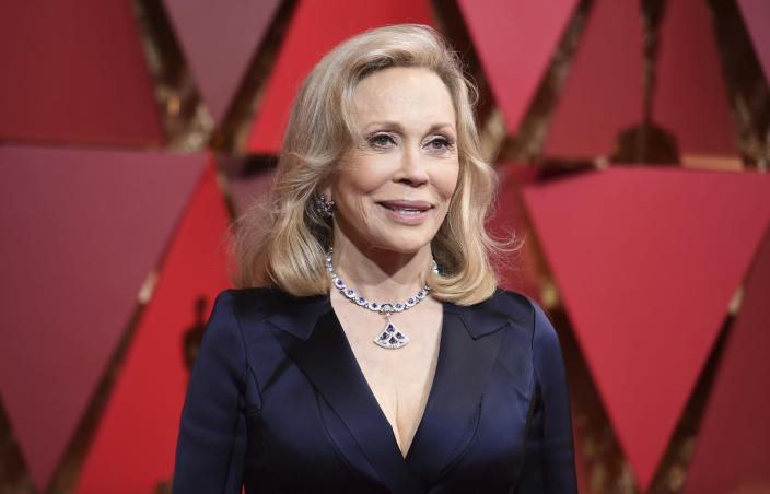 FILE - Faye Dunaway arrives at the Oscars on Feb. 26, 2017 in Los Angeles. Dunaway turns 80 on Jan. 14. (Photo by Richard Shotwell/Invision/AP, File)