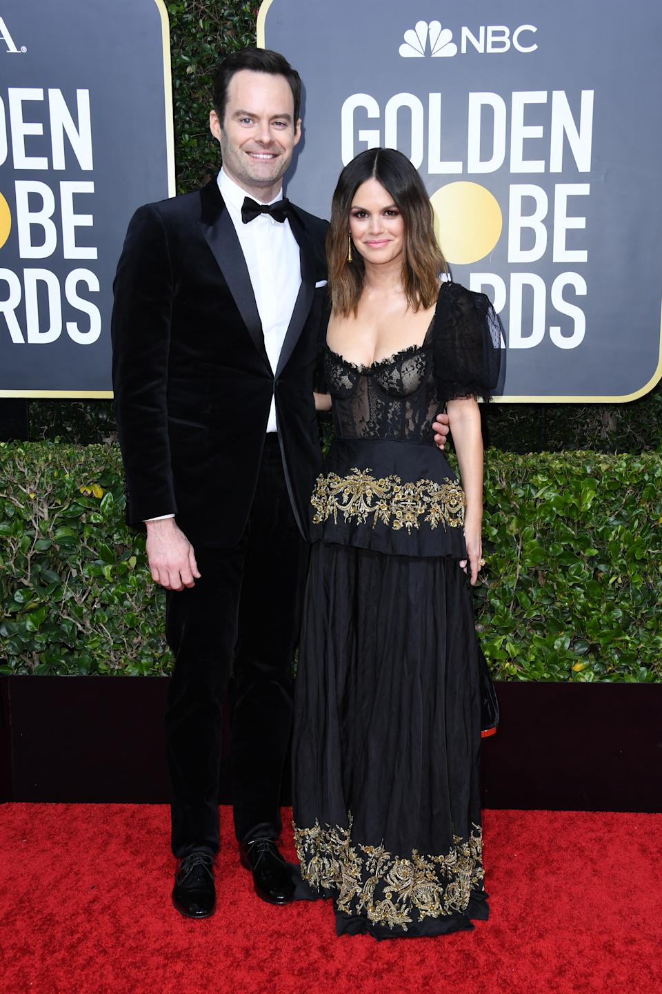 """The """"Barry"""" star and """"The O.C."""" alum made their red carpet debut as a couple in coordinating black looks. (Photo by Jon Kopaloff/Getty Images)"""