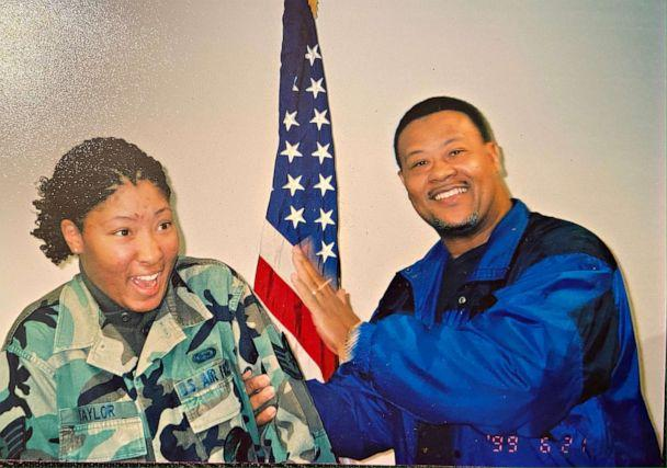 PHOTO: Charonda Johnson, a former Air Force combat veteran, has her staff sergeant stripes pinned on her by her father, who recently died unexpectedly from COVID-19. (Courtesy of Charonda Johnson)