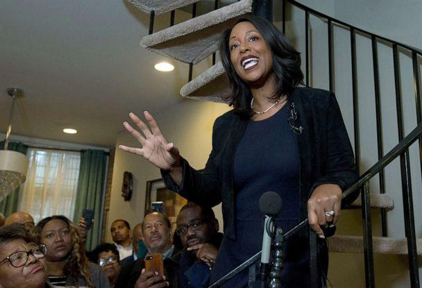 PHOTO: Maya Rockeymoore Cummings speaks to the media and supporters from the stairs of her home announcing her campaign for her late husband's congressional seat, in Baltimore, Nov. 12, 2019. (Jose Luis Magana/AP, FILE)