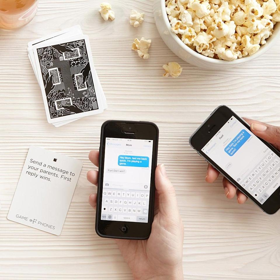 <p>The <span>Game of Phones</span> ($20) turns your regular game night with friends into a cellular scavenger hunt. </p>