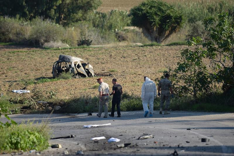 The explosion which killed Daphne Caruana Galizia was so powerful that it ripped her car to pieces, catapulting her body into a nearby field (AFP Photo/STR)