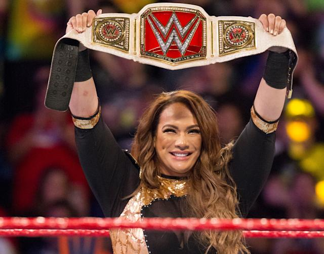 "WWE superstar Nia Jax holds the Raw women's championship on an episode of ""Monday Night Raw."" (Photo courtesy of WWE)"