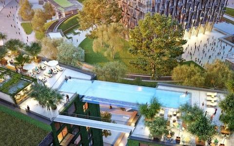 The suspended pool at Embassy Gardens which overlook the US' fortress - Credit: Ballymore