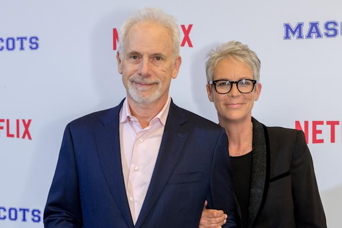 LOS ANGELES, CA - OCTOBER 05:  (L-R) Actor Christopher Guest and actress Jamie Lee Curtis arrive at a Screening Of Netflix's