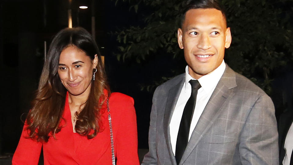 Maria and Israel Folau, pictured here leaving Federal Court after a meeting with Rugby Australia.