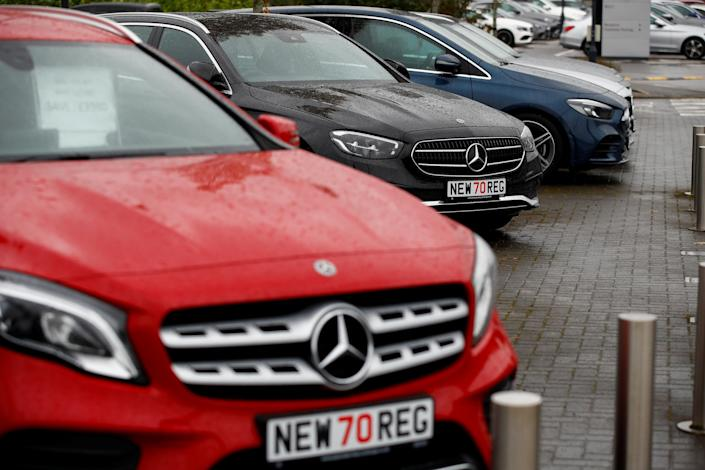 New cars are pictured at a car dealership