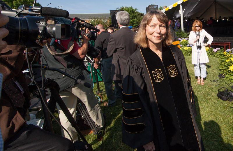 Jill Abramson, former Executive Editor of the New York Times, walks with professors to the commencement ceremony at Wake Forest University in Winston-Salem, North Carolina