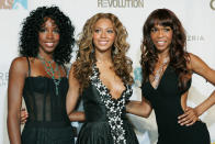 """FILE - Kelly Rowland, left, Beyonce Knowles, center, and Michelle Williams of Destiny's Child appear at the second annual Fashion Rocks concert in New York on Sept. 8, 2005. Rocker Stevie Nicks, who is releasing a concert film """"Stevie Nicks 24 Karat Gold The Concert"""" later this month, let the R&B girl group Destiny's Child sample the song """"Edge of Seventeen"""" for their 2001 smash """"Bootylicious."""" Nicks even appeared in the video, and remembers meeting Kelly Rowland, Michelle Williams and Beyoncé — who was just 19 at the time. (AP Photo/Diane Bondareff, File)"""