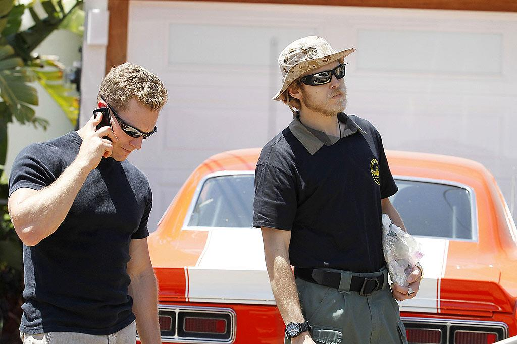 """Just days after Brody Jenner said his former BFF Spencer Pratt had lost it, """"The Hills"""" star was spotted outside his home -- crazy crystal in hand -- with a team of Marines he hired to protect he and wife Heidi. The threat? Heidi's poor concerned mom who had hopped on a plane to see her child after hearing she hadn't left the house in weeks. Nathanael Jones/Sam Sharma/<a href=""""http://www.pacificcoastnews.com/"""" target=""""new"""">PacificCoastNews.com</a> - May 13, 2010"""