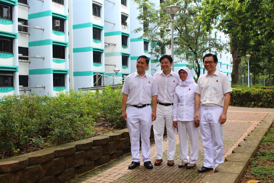 A 2015 photograph of Marsiling-Yew Tee GRC MPs (from left) Alex Yam, Lawrence Wong, Halimah Yacob, Ong Teng Koon. Halimah resigned as MP on 7 August in order to contest this year's Presidential Election. (Yahoo News Singapore file photo)