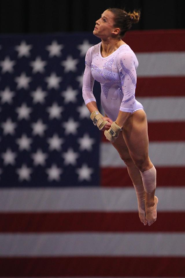 ST. LOUIS, MO - JUNE 10: Alicia Sacramone competes on the vault during the Senior Women's competition on day four of the Visa Championships at Chaifetz Arena on June 10, 2012 in St. Louis, Missouri. (Photo by Dilip Vishwanat/Getty Images)