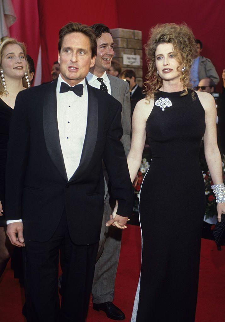 """<p>In 1977, Michael Douglas married Diandra Luker <a href=""""https://eve.womenworking.com/michael-douglas-first-marriage-diandra-luker-divorce-cameron-second-marriage-catherine-zeta-jones"""" rel=""""nofollow noopener"""" target=""""_blank"""" data-ylk=""""slk:after only two weeks"""" class=""""link rapid-noclick-resp"""">after only two weeks</a> of knowing each other. A year later, the couple welcomed their son, Cameron. While they split in 1995, their divorce wasn't finalized until 2000—which is when Douglas married his wife of 20 years, Catherine Zeta-Jones. </p>"""