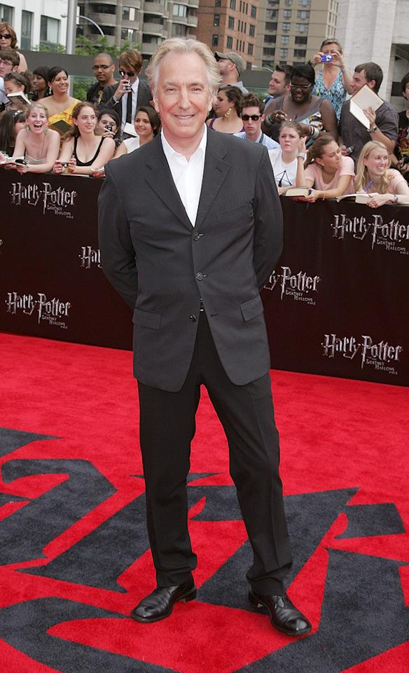"""<a href=""""http://movies.yahoo.com/movie/contributor/1800021960"""">Alan Rickman</a> at the New York City premiere of <a href=""""http://movies.yahoo.com/movie/1810004624/info"""">Harry Potter and the Deathly Hallows - Part 2</a> on July 11, 2011."""
