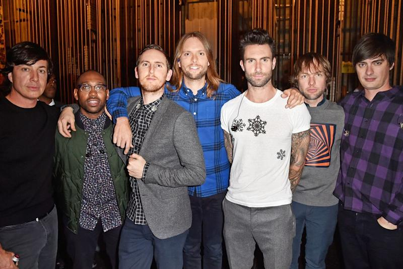 <strong>Matt Flynn, PJ Morton, Jesse Carmichael, James Valentine, Adam Levine, Mickey Madden, and Sam Farrar of Maroon 5.</strong>