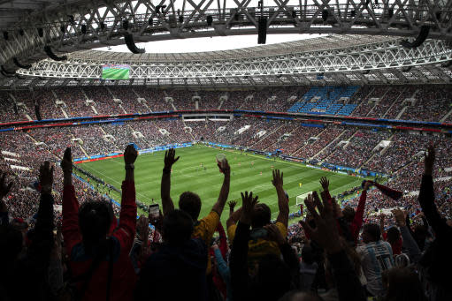 FILE - In this June 14, 2018 file photo, fans cheer during a 2018 soccer World Cup group A at the Luzhniki stadium in Moscow, Russia. Some South American fans at the World Cup in Russia are receiving strong criticism for sexist behavior and could even face workplace consequences for posting videos in which fans encourage foreign women to say offensive things in languages they don't appear to understand. (AP Photo/Felipe Dana, File)
