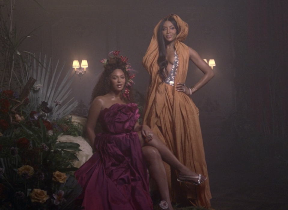"""<p>Beyoncé's sings about a few famous friends during a verse in """"Brown Skin Girl."""" First up is supermodel Naomi Campbell: """"Pose like a trophy when Naomis walk in / She need an Oscar for that pretty dark skin.""""</p>"""