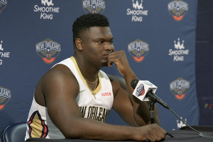 New Orleans Pelicans power forward Zion Williamson is shown during the NBA basketball team's Media Day in New Orleans, Monday, Sept. 27, 2021. (AP Photo/Matthew Hinton)