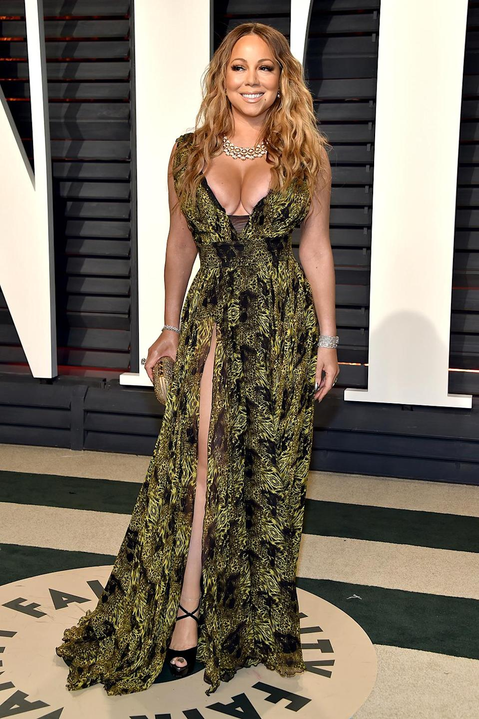 <p>As usual, Mariah Carey put her cleavage on display at the A-list soiree. (Photo by Pascal Le Segretain/Getty Images) </p>