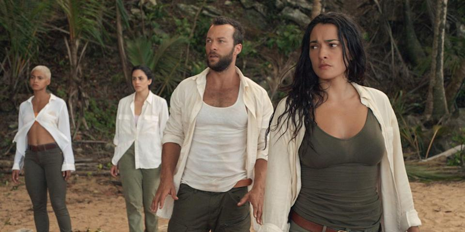 """<p>In Netflix's official description of the show, """"ten people wake up on a treacherous island with no memory of who they are or how they got there, and set off on a trek to try to get back home."""" But as the group soon discover, they must face extreme psychological and physical challenges to escape as their """"best"""" selves or be killed as their """"worst"""" selves.</p> <p><a href=""""https://www.netflix.com/title/80993062"""" class=""""link rapid-noclick-resp"""" rel=""""nofollow noopener"""" target=""""_blank"""" data-ylk=""""slk:Watch The I-Land on Netflix now"""">Watch <strong>The I-Land</strong> on Netflix now</a>.</p>"""