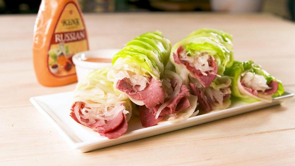 "<p>Cabbage is the new bread.</p><p>Get the recipe from <a href=""https://www.delish.com/cooking/recipe-ideas/a20077989/low-carb-reuben-wraps-recipe/"" rel=""nofollow noopener"" target=""_blank"" data-ylk=""slk:Delish"" class=""link rapid-noclick-resp"">Delish</a>.</p>"