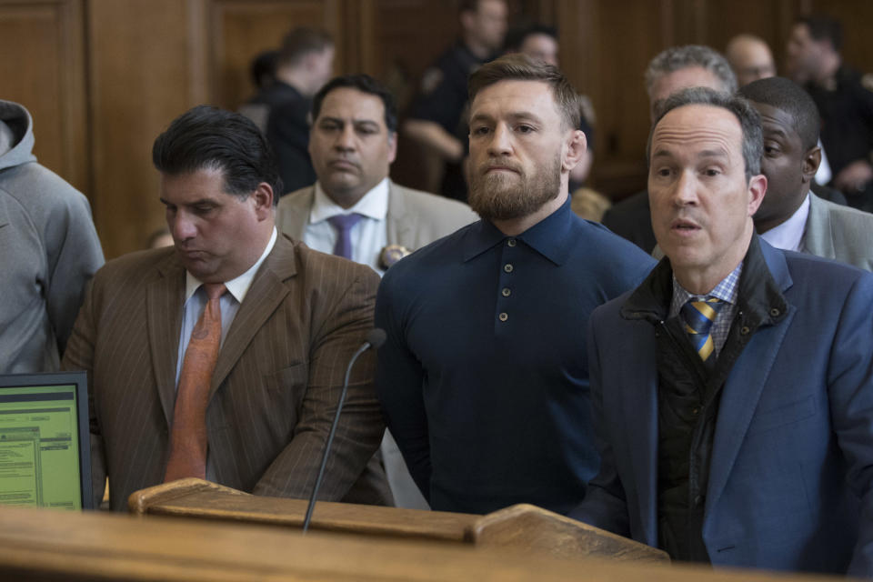 A lawsuit was filed against UFC fighter Conor McGregor stemming from his attack on a UFC team bus at the Barclays Center in New York City in April. (Photo by Mary Altaffer-Pool/Getty Images)