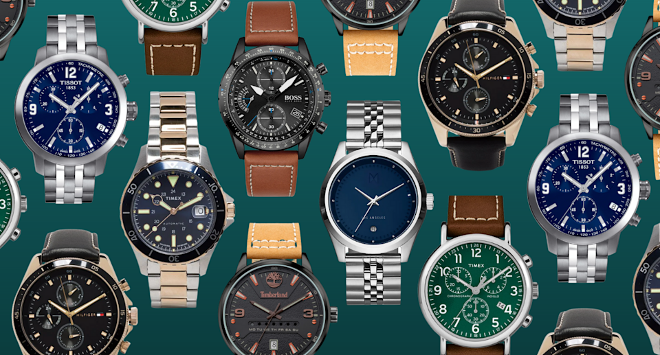 collage of gold, silver, and leather men's watches under $20, $100, $250 and $500 on green background