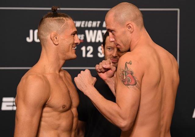 (L-R) Opponents Niko Price and James Vick face off during the UFC Fight Night weigh-in at the Westin Tampa Waterside on Oct.11, 2019 in Tampa, Florida. (Josh Hedges/Zuffa LLC)