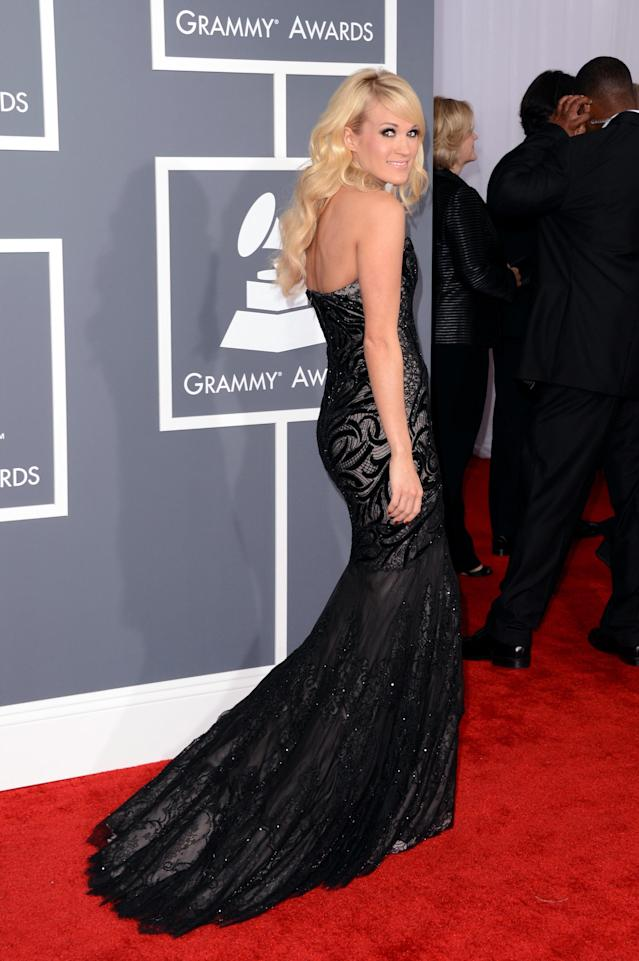 LOS ANGELES, CA - FEBRUARY 10: Singer Carrie Underwood arrives at the 55th Annual GRAMMY Awards at Staples Center on February 10, 2013 in Los Angeles, California. (Photo by Jason Merritt/Getty Images)