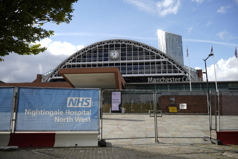 "MANCHESTER, ENGLAND - OCTOBER 15: A general view of the NHS Nightingale Hospital North West at Manchester Central on October 15, 2020 in Manchester, England. Manchester was placed in the second of three alert levels this week when the British government introduced a new system for assessing covid-19 risk. However, the Manchester area fears it may be moved into tier 3 ""High Alert as it has reported some of the highest numbers of new cases per 100,000 residents. (Photo by Christopher Furlong/Getty Images)"