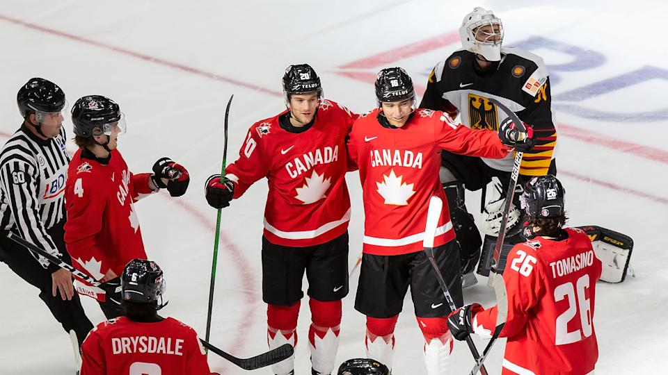 EDMONTON, AB - DECEMBER 26: Bowen Byram #4, Dawson Mercer #20, Ryan Suzuki #16 and Philip Tomasino #26 of Canada celebrate a goal against goaltender Jonas Gahr #30 of Germany during the 2021 IIHF World Junior Championship at Rogers Place on December 26, 2020 in Edmonton, Canada. (Photo by Codie McLachlan/Getty Images)
