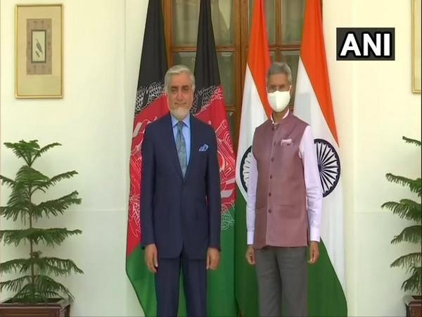 Abdullah Abdullah, chief negotiator in the intra-Afghan peace dialogue with Taliban, with External Affairs Minister S Jaishankar on Friday at the Hyderabad House. Photo/ANI