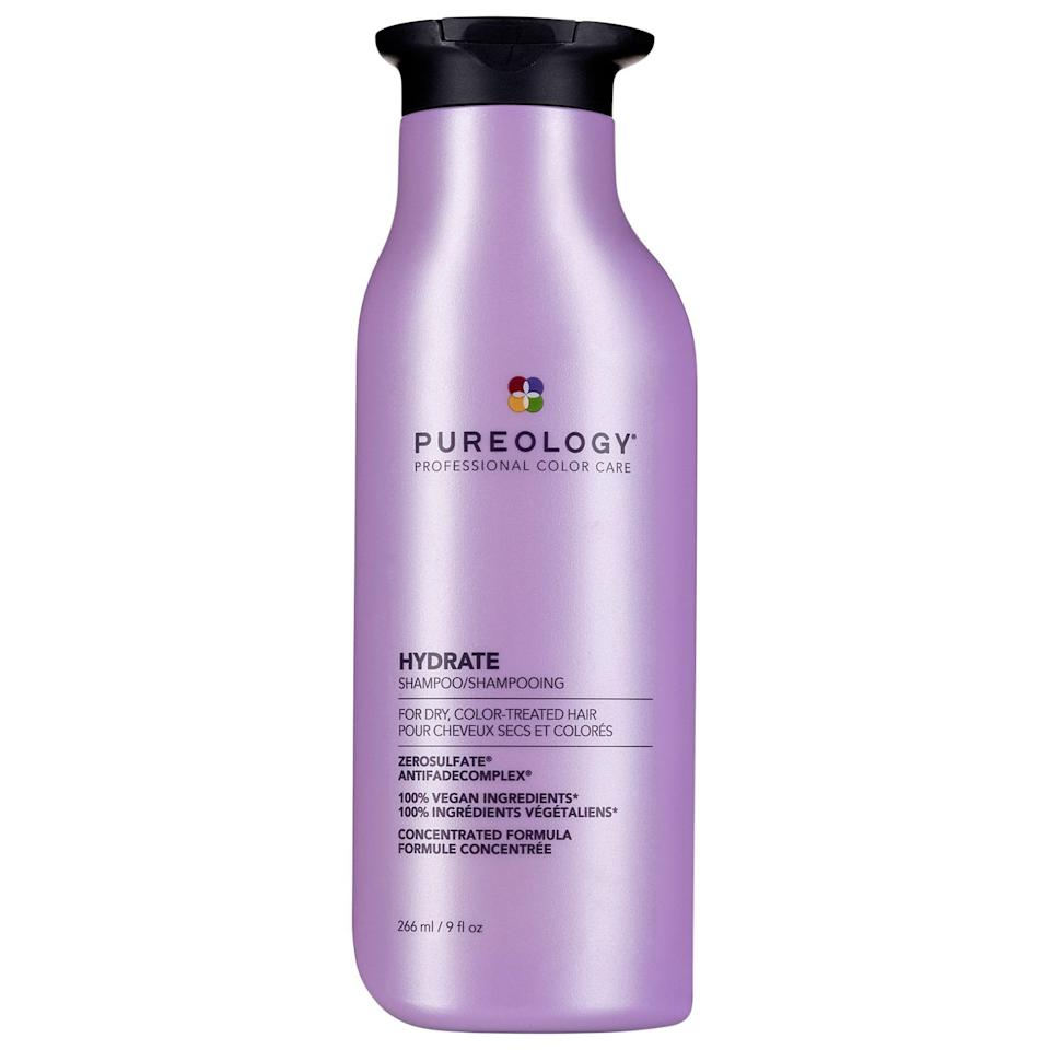 """<p><strong>Pureology</strong></p><p>sephora.com</p><p><strong>$30.00</strong></p><p><a href=""""https://go.redirectingat.com?id=74968X1596630&url=https%3A%2F%2Fwww.sephora.com%2Fproduct%2Fpureology-hydrate-shampoo-P461601&sref=https%3A%2F%2Fwww.cosmopolitan.com%2Fstyle-beauty%2Fbeauty%2Fg20874938%2Fbest-shampoo-dry-damaged-hair%2F"""" rel=""""nofollow noopener"""" target=""""_blank"""" data-ylk=""""slk:Shop Now"""" class=""""link rapid-noclick-resp"""">Shop Now</a></p><p>It's no secret that <a href=""""https://www.cosmopolitan.com/style-beauty/beauty/advice/a44632/hair-color-things-you-must-know/"""" rel=""""nofollow noopener"""" target=""""_blank"""" data-ylk=""""slk:coloring your hair"""" class=""""link rapid-noclick-resp"""">coloring your hair</a>—whether you DIY with box dye or get it done at the salon—can lead to major breakage and dullness. Enter this hydrating and damage-repairing shampoo that's designed specifically for color-treated hair. The gentle, sulfate-free formula<strong> protects your color while amping up your hair</strong> <strong>health</strong> with jojoba oil, sage, and green tea extracts.</p>"""