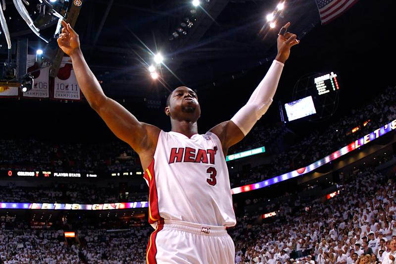 aa5ec7e87 Dwyane Wade acknowledges fans before the Miami Heat take on the Boston  Celtics in Game 7