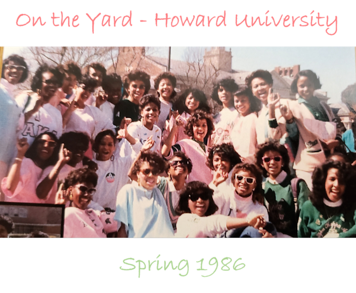 Kamala Harris and her line sisters pose on the campus of Howard University.