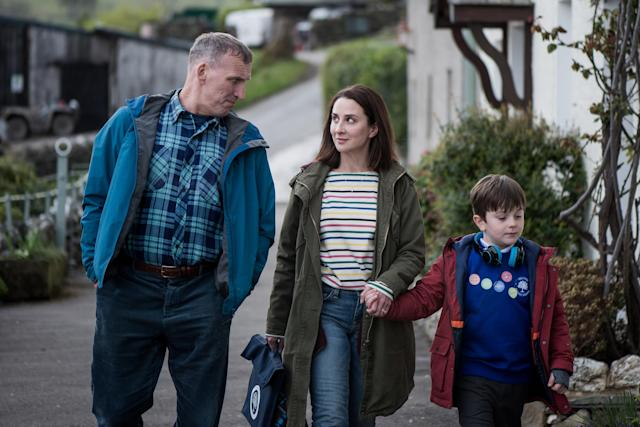 Christopher Eccleston as Maurice Scott, Morven Christie as Alison Hughes, Max Vento as Joe Hughes in <em>The A Word.</em> (Photo: SundanceTV)