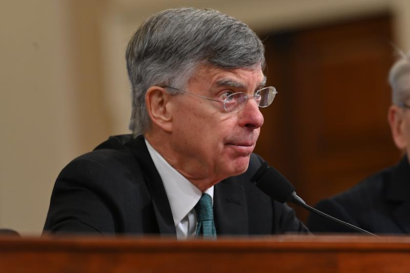 Bill Taylor, the top American diplomat in Ukraine, testifies Nov. 13, 2019, at the House impeachment hearing in Washington, D.C.