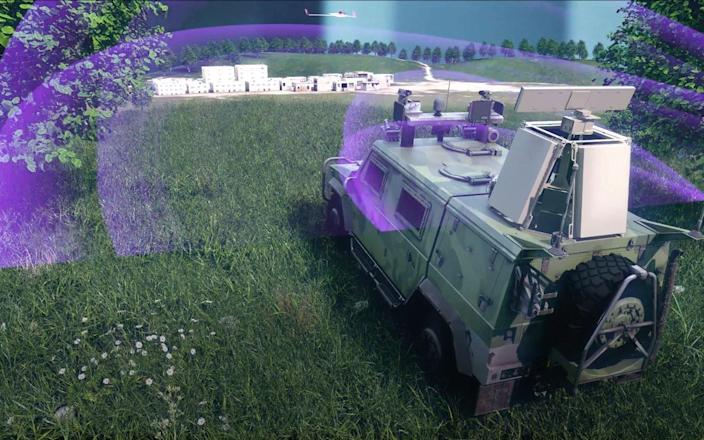 A mock demonstration of the tool shows a tank with sensors and radars around it