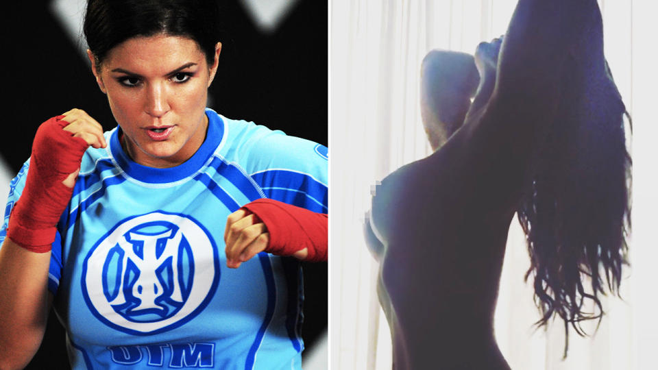 Gina Carano, pictured here during her MMA career and on Instagram.