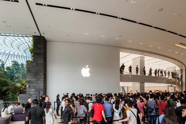 The opening of the Jewel Changi Apple Store drew an excited crowd. — Picture courtesy of Apple