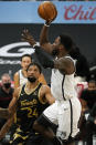 Brooklyn Nets forward Jeff Green (8) shoots over Toronto Raptors center Khem Birch (24) during the second half of an NBA basketball game Tuesday, April 27, 2021, in Tampa, Fla. (AP Photo/Chris O'Meara)